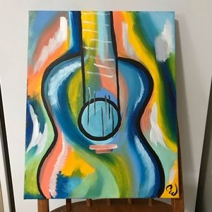"Original Acrylic Abstract Guitar Painting 16""x20"""
